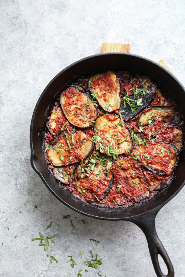 Atkins Recipes - Broiled Eggplant-Tomato Salad with Spicy Sour Cream Dressing