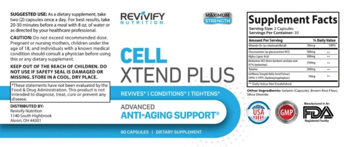 cell xtend plus ingredients label